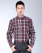 Djp Basics Men Premium Plaid L/S Button-Down Navy