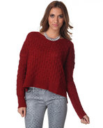 Djp Outlet Women's Laurine Cable Knit Sweater Red