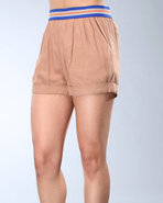 Djp Outlet Women's Mark Waistband Shorts Khaki Sma