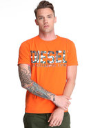 Men T-Darr Camo Logo Grapic Tee Orange Small