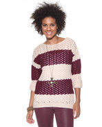 Djp Basics Women's Open Stitch Striped Sweater Mar