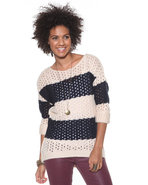 Djp Basics Women's Open Stitch Striped Sweater Nav