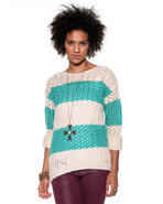 Djp Basics Women's Open Stitch Striped Sweater Tea