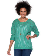 Djp Basics Women's Marbeled Open Stitch Sweater Te