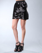 Djp Outlet Women's Madie Sequin Skirt Black X-Smal