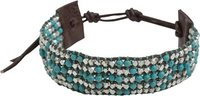 BEADED STONE WRAP BRACELET Turquoise Blue