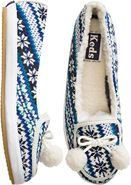 FAIR ISLE CABLE KNIT SLIPPER Navy Blue
