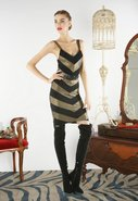 Vida Chevron Tank Dress in Black/Gold