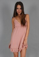 Lulu Polka Dot Tiered Dress in Dusty Pink