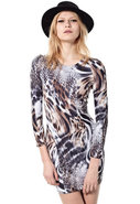 Tory Long Sleeve Snow Leopard Dress in Brown