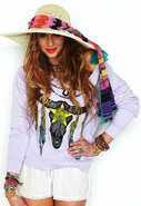 Tribal Crop Sweatshirt in Light Orchid