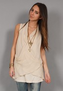 Sheer Cross Front Tunic in Camel