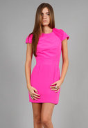 Chiffon Shoulder Party Dress in Pop Pink