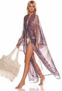 Esme Long Silk Chiffon Caftan in Tri Purple