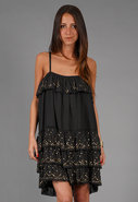 Gold Speckle Tiered Dress in Black