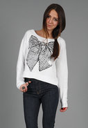Farrah Bow Crop Sweatshirt in White