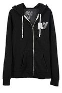 Rebel Yell Fleece Zip Hoodie in Black