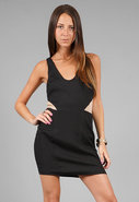 Isabella Dress in Black/Nude
