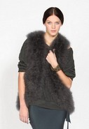 Marabou Feather Vest in Storm
