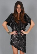 Sequin Grecian Dress in Black