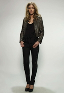 Chain Embellished Leather Jacket in Carbon