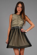Heidi Sheer Skirt Party Dress in Black/Antique