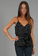 Bugle Beaded Spaghetti Wrap Blouse in Jet