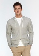 Vince French Terry Zip-Up Hoodie in Heather Grey