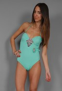 Embroidered Bustier One Piece in Mint