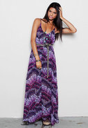 U Back Baby Doll Dress in Purple Floral