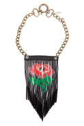 Desert Flower Fringe Necklace in Black