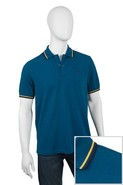 Twin Tipped Polo Shirt in Morrocan Blue with Canar
