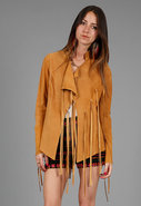 Foley + Corrina Leather Fringe Jacket in Camel
