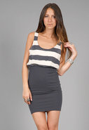 Nicky Blouson Tank Dress in Navy/Stone