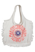 Flower Power Fringe Tote in White