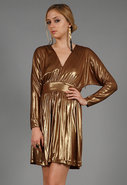 Deep V Cocktail Dress in Gold