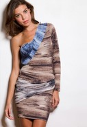 Paula Mixed Brush Draped Dress in Mixed Brush Prin