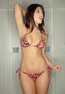 Lucy Bikini in Bright Coral/Black