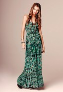 Full Length Cami Waisted Dress in Green Ombre Prin