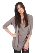 Dia Stud Tie Tee in Taupe