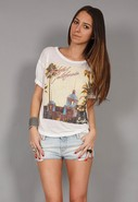 Hotel California Eagles Burnout Boxy Tee in White