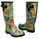 Puddles Boots (Green Flower Power) - Women's Boots