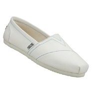 Bobs Earth Day Shoes (White/Blue Stitch) - Women's