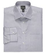 Traveler Spread Collar Poplin Check Dress Shirt by