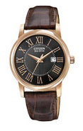 Eco-Drive Ladies Strap Brown Leather Womens Watch