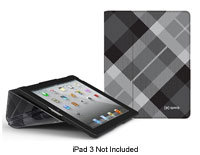 FitFolio Black Plaid Book-Style Cover For iPad 3 -