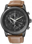Eco-Drive Black Ion Plated Chronograph Mens Watch 