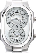 Classic Large White Dial Stainless Steel Womens Ca