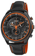 Eco-Drive WDR Black & Orange Stainless Steel Mens