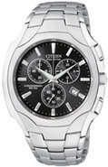 Eco-Drive Black Dial Chronograph Mens Watch - AT08